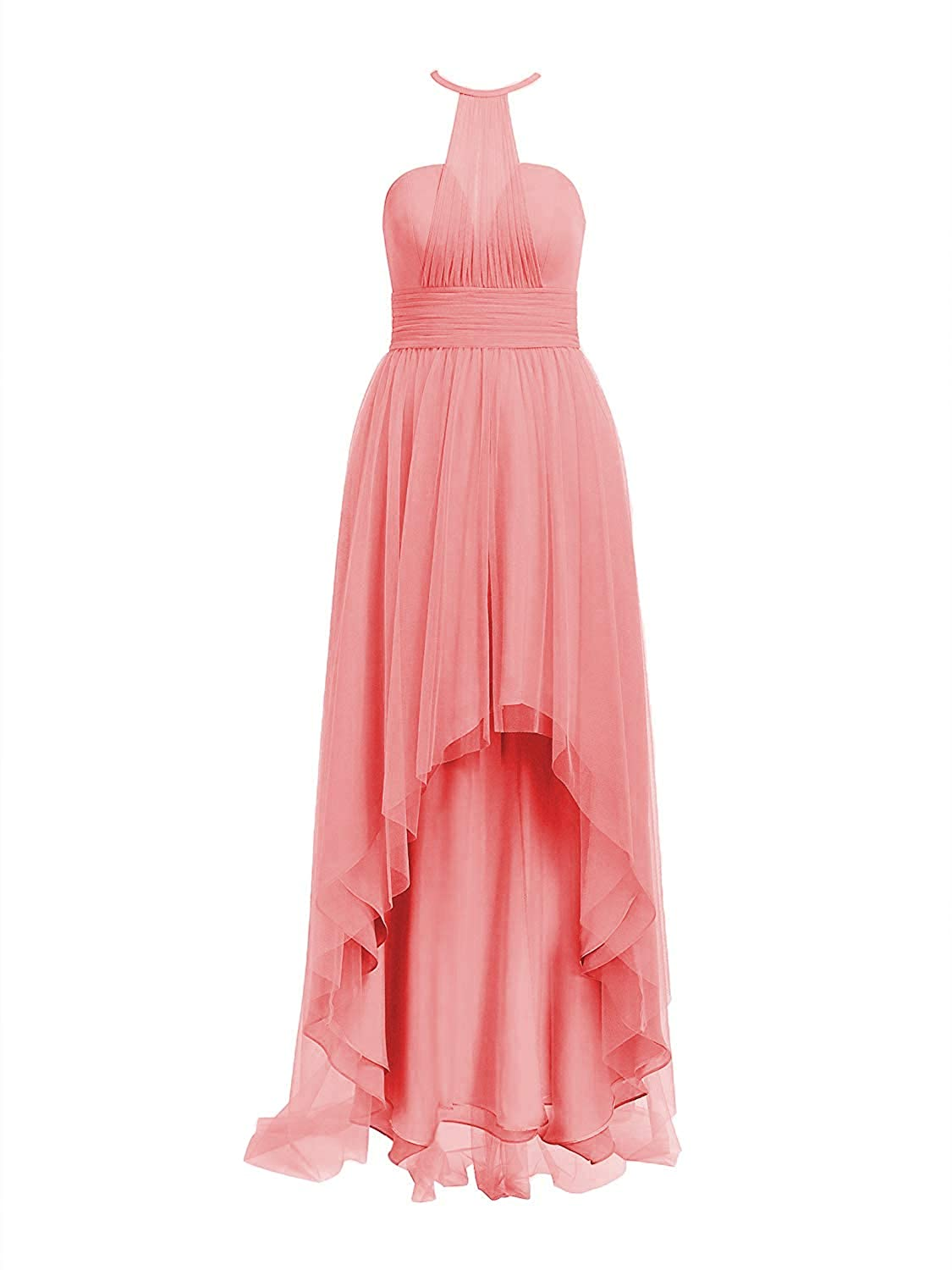 Coral Tulle Bridesmaid Dresses High Low Halter Prom Party Gowns Backless Evening Formal Dress