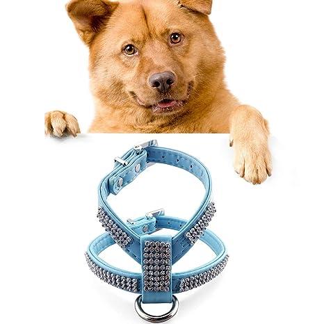 YongYeYaoBEN Rhinestone PU Collar de Perro Suave Respirable Arnés ...