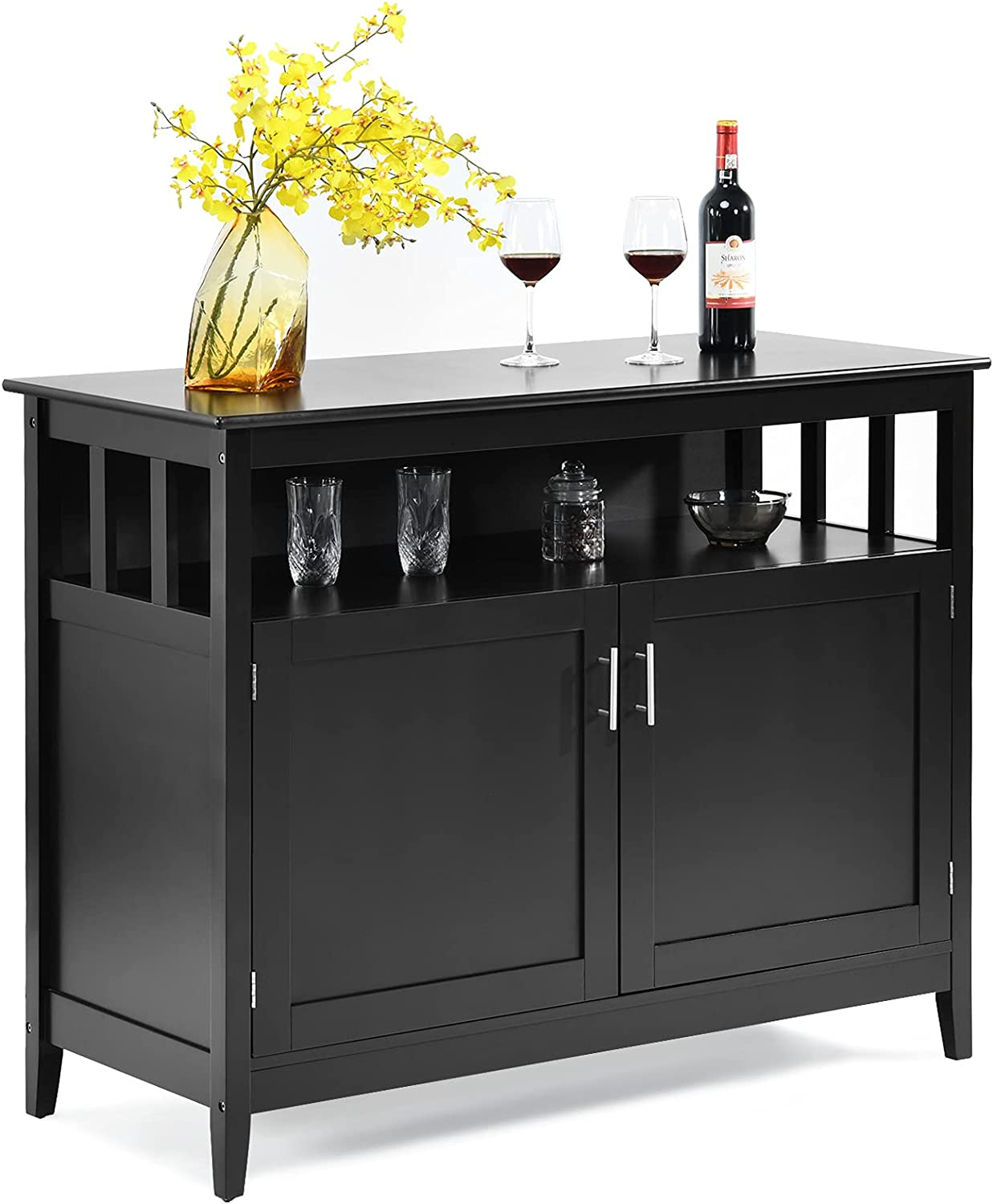Costzon Kitchen Storage Sideboard Dining Buffet Server Cabinet Cupboard, Free Standing Storage Chest with 2 Level Cabinets and Open Shelf, Adjustable Middle Shelf for Home, Dining Room (Black)