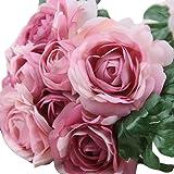 Hlhn rose finta seta fiore foglia artificiale wedding Decor bridal bouquet per la decorazione dell' ufficio casa scrivania tavoli da giardino Outdoor party Purple