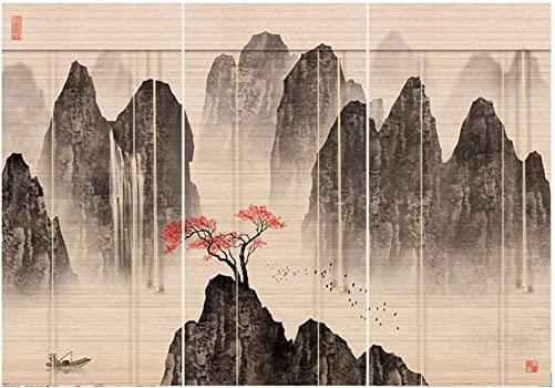 CHAXIA Roller Blind Bamboo Shade Printing Curtain Living Room Office Background Wall Combination Chart Sun Protection