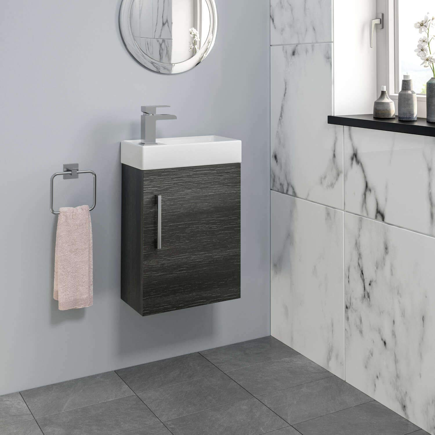 Worcester Bosch Modern Bathroom Basin Sink Vanity Unit Wall Hung 1 Tap Hole 400mm Charcoal Grey