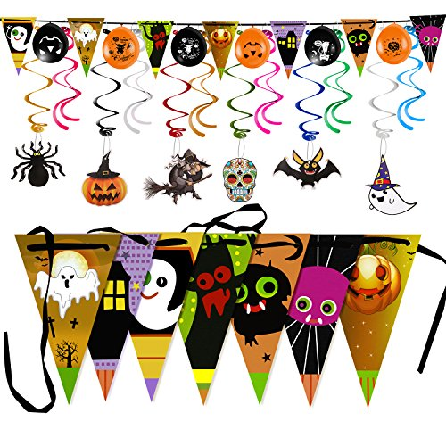 Halloween Party Decoration Triangle Banner Flag with Foil Swirl Ceiling Hanging Pumpkin Ghost Witches Bat Spider Skull Sticker Grimace (7 Triangle Flag + 6 Balloons+6 Cards+12 Swirls )Multicolor (12 Year Old Halloween Party Games)