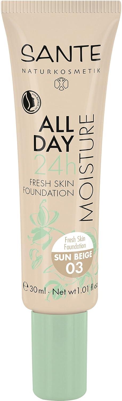 SANTE Naturkosmetik All Day Moisture 24h Fresh Skin Foundation, 01 Ivory, Heller Hautton, Hydro-Depot für Feuchtigkeit, Vegan, 30ml 43270