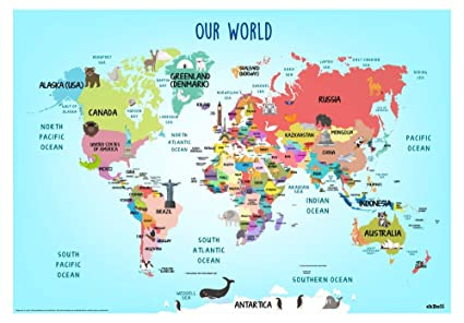 3afe75e6f75b EkDali Fun World Map with Country Names for Kids (Size A2,16.5 X23.4 in)