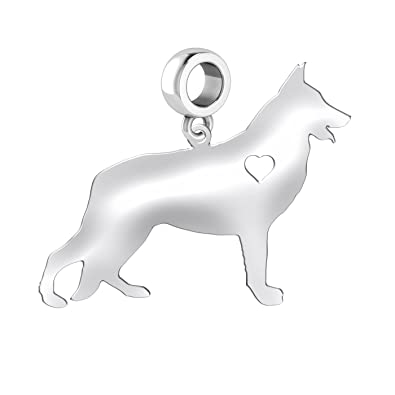 Sterling Silver Dog European Style Charm for a Necklace or Bracelet