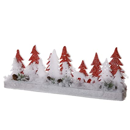 Wedestock Décoration scène de Noël en Bois et Mousse Sapin Blanc et Rouge  L40cm