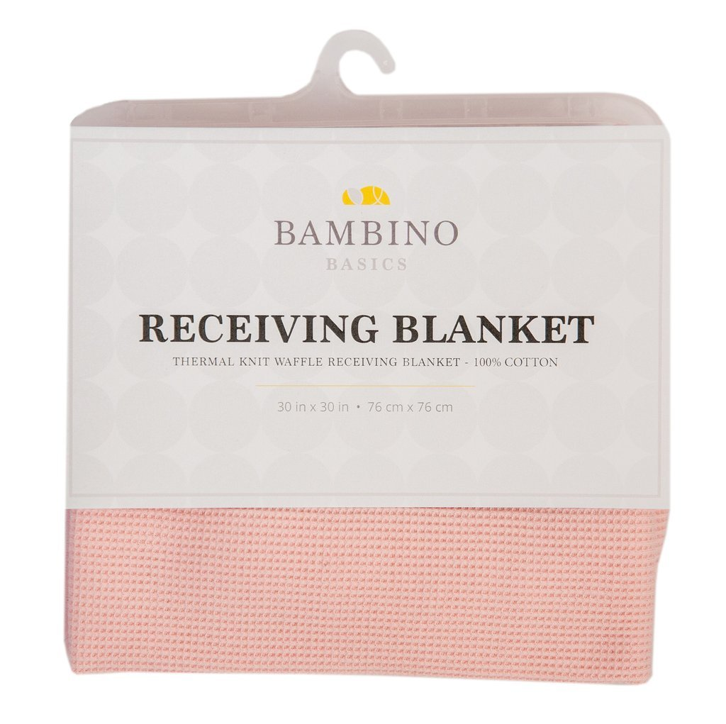 Bambino Basics 100% COTTON - Waffle Knit Thermal Receiving Blankets - 30 x 30 - In 5 Colors: Baby Blue, Pink, White, Grey, and Navy Blue - Perfect Gift for Baby Shower or any Expecting Mother ThermalKnit.Recblankets.Pink