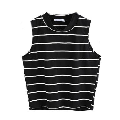 Internet Damen Sommer gestreiftes Tank-Top ärmelloses T-Shirt Bluse (S,  schwarz 00ba6f3fcd