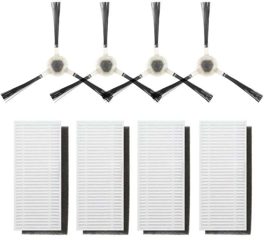 Lefant Replacement Parts, 4 Side Brushes and 4 High-Efficiency Filters, Accessories Kit for Robotic Vacuum T700 M500 M300