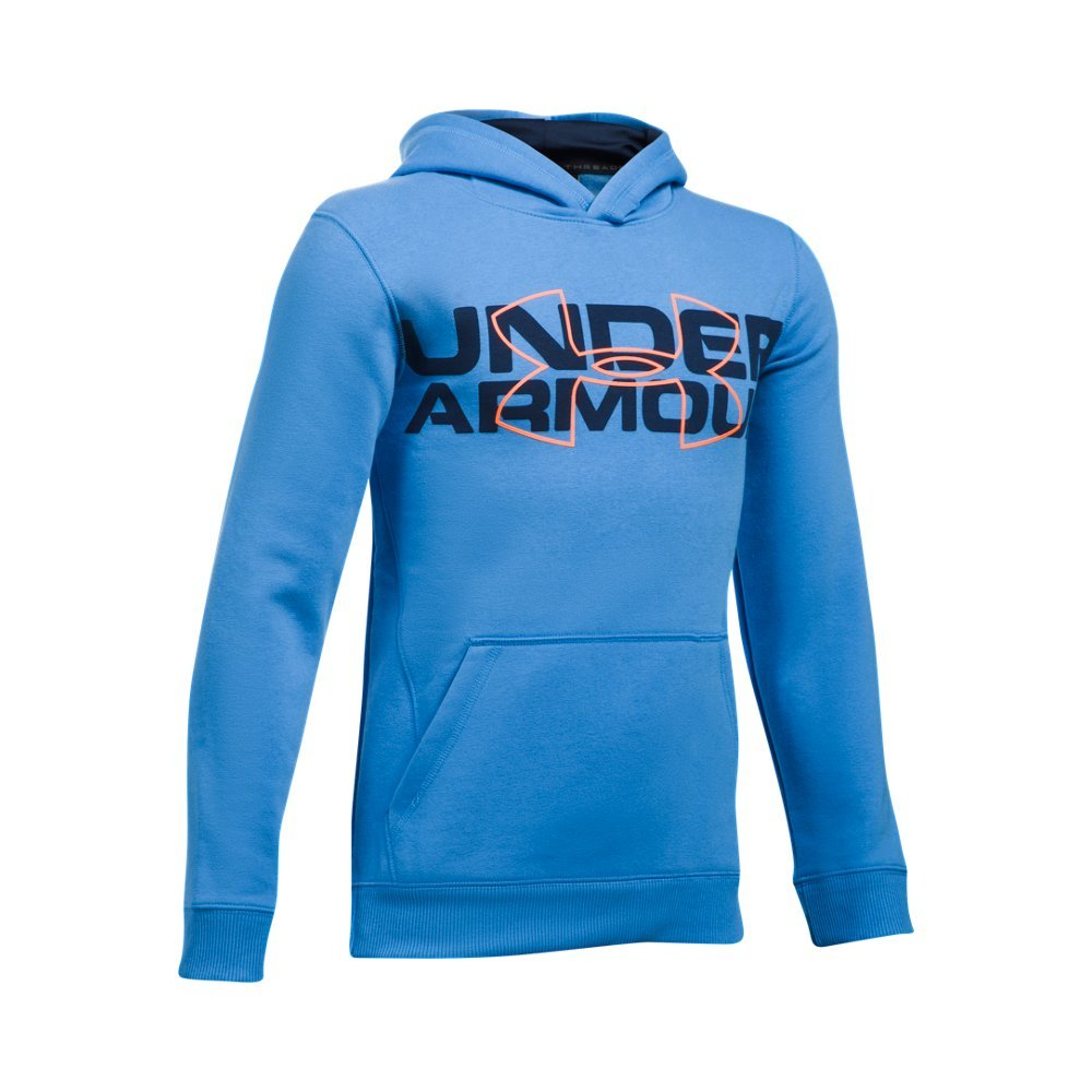 Under Armour Boys' Threadborne Logo Hoodie, Mako Blue /Magma Orange, Youth X-Small