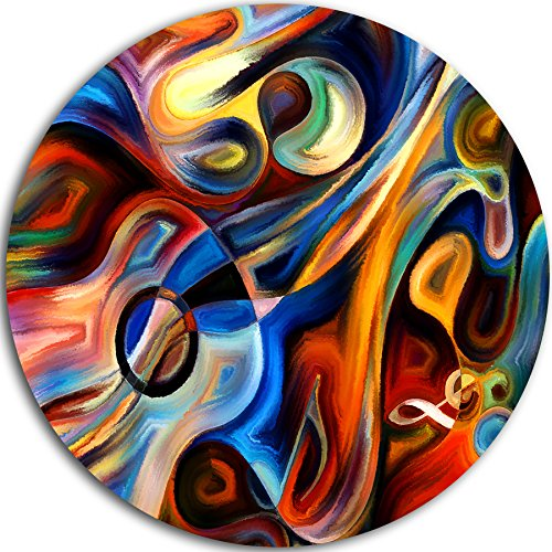 Designart ''Abstract Music and Rhythm Abstract Round'' Metal Wall Art, 38 x 38'', Red/Blue by Design Art