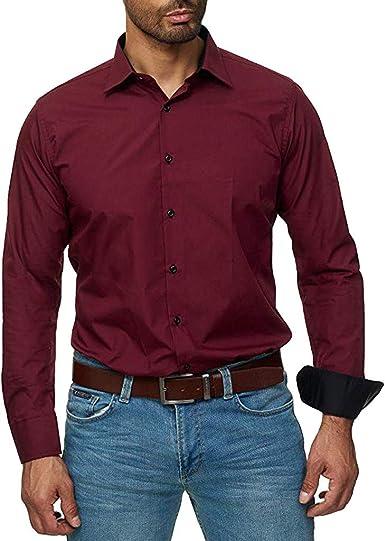 Camisa de Manga Larga Informal Suelta de Color Sólido para Hombre Blusa de Negocio Casual Camisa con Solapa Tops Elegante Hombre Camisa Botón (M, Vino): Amazon.es: Ropa y accesorios