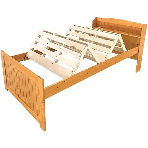 MUSTBUYのみやび格子すのこベッドエアライズは、 2018年グッドデザイン賞を受賞した商品。京町屋の格子を参考にデザインされ、風通しの良さとデザイン性の高さを両立させている。  持ち手がついており、バネの力で簡単に折りたたむことができる。