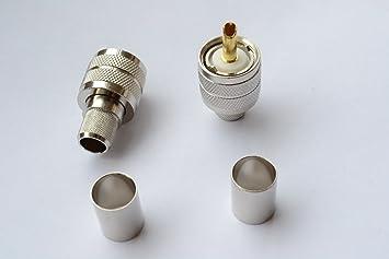 Pack de 5 macho PL259 UHF Crimp Coaxial conector RG214 RG8 RG213 9913 LMR400, chapado