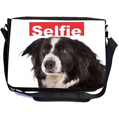 Rikki Knight Selfie Border Collie Dog Design Multifunctional Messenger Bag - School Bag - Laptop Bag - with padded insert for School or Work - Includes Matching Compact Mirror