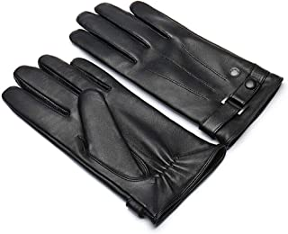 Men's Leather Gloves Soft Sheepskin Gloves - Men's Winter Plush Warmth Touchable Screen Cycling CONGMING (Size : L)
