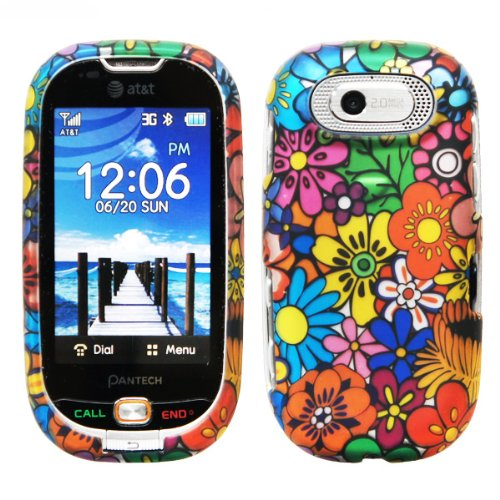 Orange Purple Pink Green Yellow Blue Colorful Daisy Sun Flower Snap on Hard Cover Protector Faceplate Cell Phone Case for AT&T Pantech Ease P2020 + Premium LCD Screen Guard Film