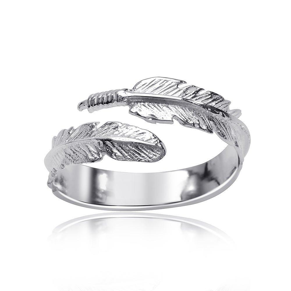 anello in argento con piuma pandora