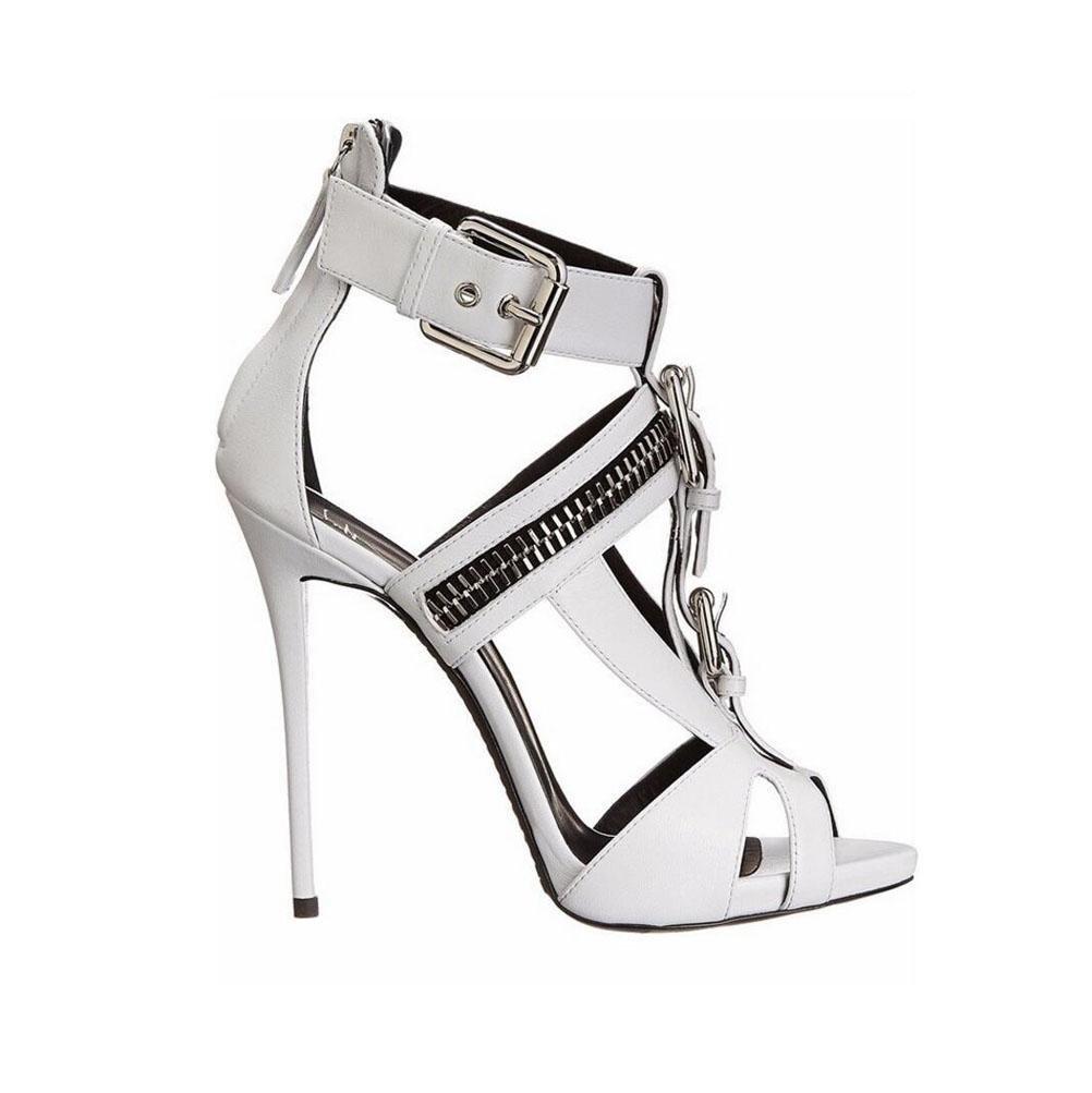 YWNC Damenschuhe Stöckel Absatz Sandalen mit mit Sandalen hohen Absätzen Mode Schuhe ein Wort Schnalle Party Bankett große Größe Schuhe Spitz weiß schwarz , 38 , Weiß - 8da67f