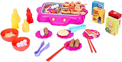 Amazon Com Kitchen Pretend Play Accessories Toys Rotisserie Little Grill Barbecue Play Set Kids Rotating Hot Pot Bbq Toy Set Deluxe Role Play Simulation Kitchen Toys Multicolour Sports Outdoors