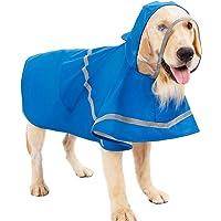 Hemobllo Dog Raincoat Pet Rain Jacket with Hood Puppy Rain Poncho Waterproof Clothes Reflective Stripe for Large Medium Small Puppy Dog