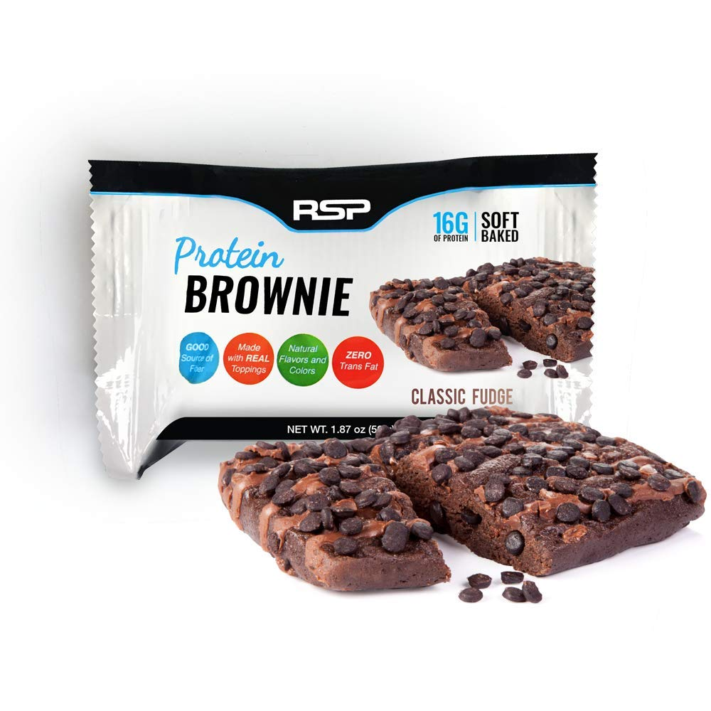 RSP Protein Brownie (12 pk) - 16g of Protein & Gluten Free, Delicious On-The-Go Healthy Snack - Soft Baked Brownie & High Protein Snack, Classic Fudge by RSP Nutrition