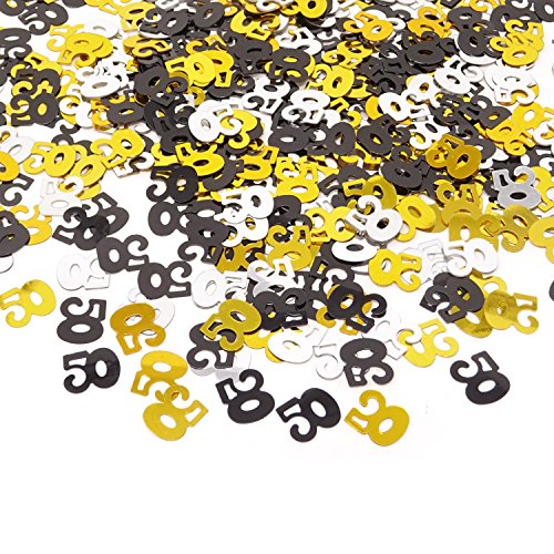 Honbay 2100 Pieces 1.6Oz Double Sided Sparkly Number 50 Confetti for 50th Birthday, 50th Class Reunion, 50th Wedding Anniversary,etc (Mixed) ()