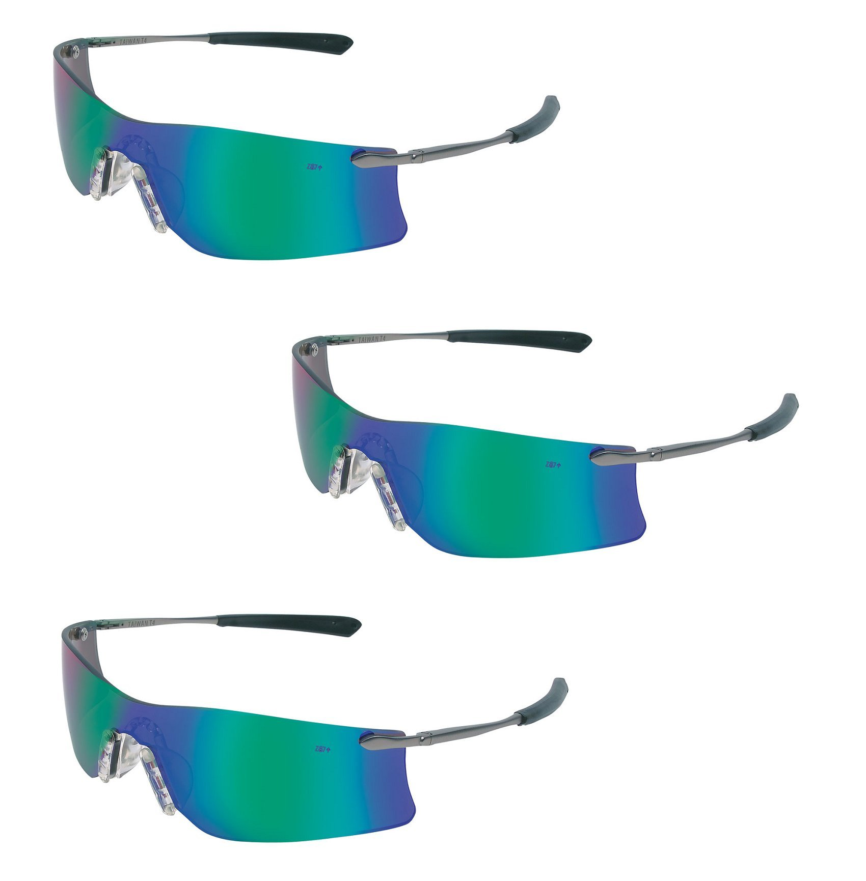 (3 Pair) MCR Safety Glasses Emerald Mirror Lens Rubicon T411G by Crews