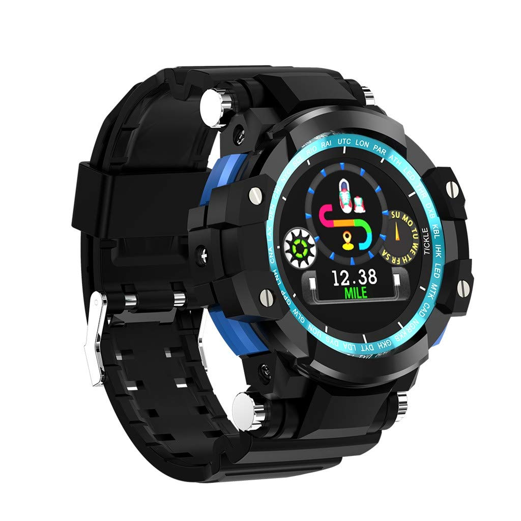 Matoen Men Outdoor Sports Smart Watch Waterproof ECG Heart Rate Monitor Blood Pressure Pedometer Run (A, Blue)