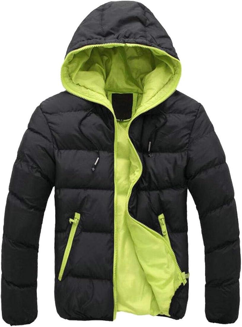 Yayu Mens Zipper Solid Hoodies Winter Thicken Padded Down Jacket Coat