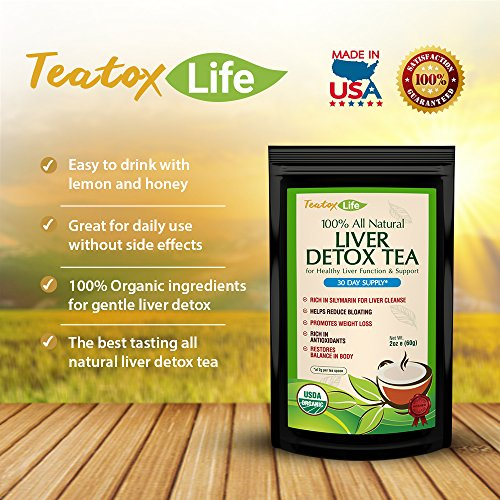 Teatox Life: Liver Detox tea with dandelion root, milk thistle, licorice for organic herbal cleanse formula as liver detoxifier, flush and health | Made in USA| USDA Certified