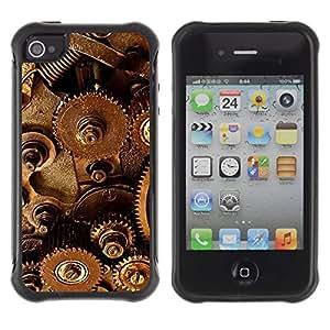 LASTONE PHONE CASE / Suave Silicona Caso Carcasa de Caucho Funda para Apple Iphone 4 / 4S / Mechanism Technology Instrument Inside Art