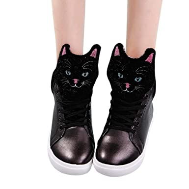 c8186714a5fae Amazon.com: Hemlock Cute Cat Flat Shoes Girls Women Low Heel Ankle ...