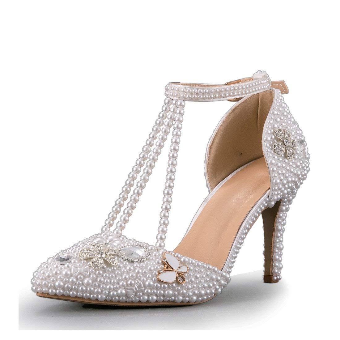 HhGold Damen Jem Perlen T-Strap High Heel Braut Hochzeit Pumps (Farbe   Weiß-9cm Heel, Größe   7 UK)