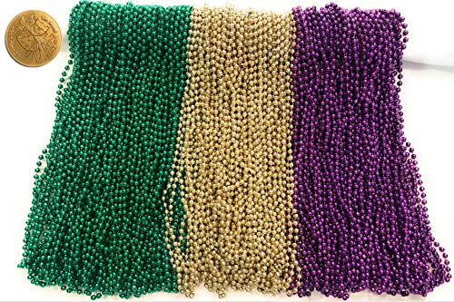 - Mardi Gras Beads 33 inch 7mm, 12 Dozen, 144 Pieces, Purple Green and Gold Necklaces with Doubloon