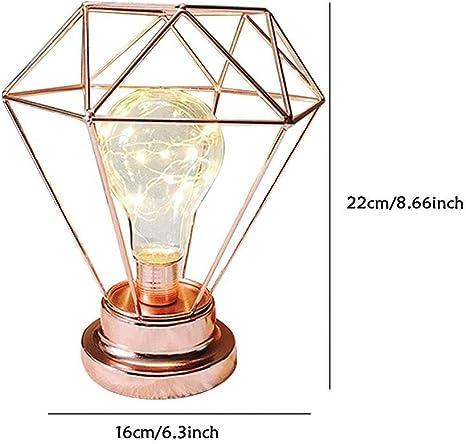 Lampada da tavolo Lampadina,SUAVER Lampada da scrivania in Metallo Lampada da Vintage,Batteria caricata Creativa Decorativo Lampada da Comodino(Oro