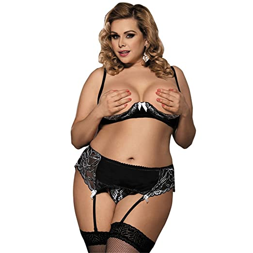 4e8701dfb Image Unavailable. Image not available for. Color  Women Open Cup  Crotchless Lingerie Plus Size