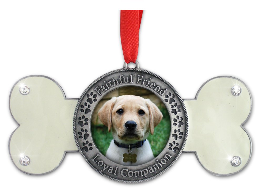 Banberry Designs Pet Remembrance - Dog Photo Ornament - Dog Bone Design with Faithful Friend Loyal Companion Embossed Around Picture - Dog Memorial Ornament - Pet Memorial Ornament
