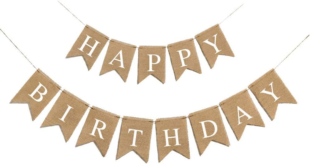 Happy Birthday Burlap Banner For Baby Birthday Party Decorations Supplies(White Alphabet)