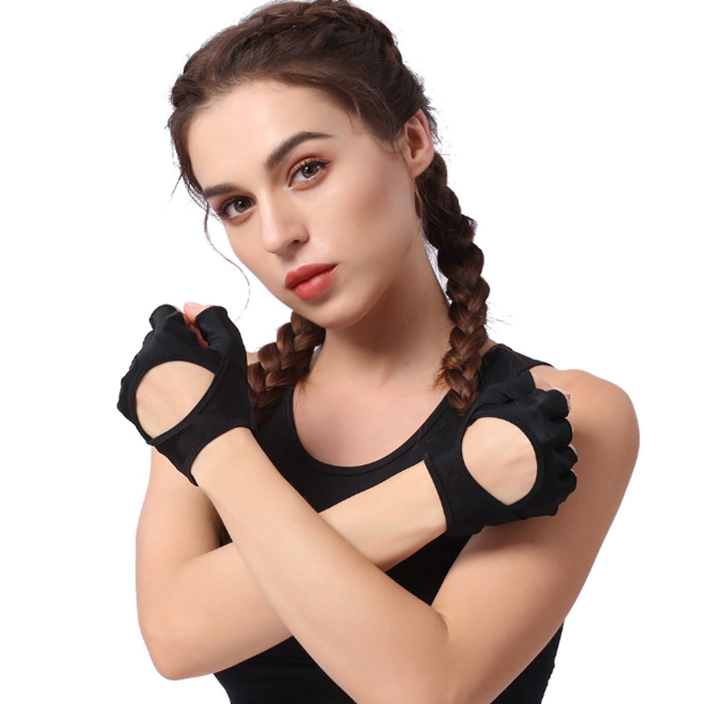 Gants d'entraînement sportif Support de poignet Fitness, haltérophilie, entraînement physique et haltérophilie - Rembourrage, sans durillons - Femme, prise forte 1 paire ( Color : Black , Size : M/L ) haltérophilie ju-sheng