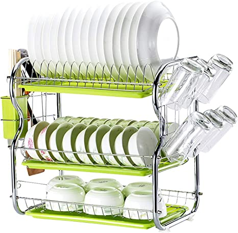Dish Drying Rack 3 Tier Stainless Steel Kitchen Dish Drainer Rack Kitchen Storage With Drainboard And Cutlery Cup Kitchen Supplies Drying Frame B Kitchen Dining