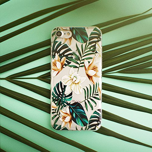 iPhone 8 Plus(7 Plus) Bahama Leaves Aloha Love Summer Tropical Coffee Floral Clear Rubber Case for iPhone 7 Plus-Colored Vintage Flower Floral Japanese Cherry Blossom Roses iPhone 8 Plus Case Photo #8