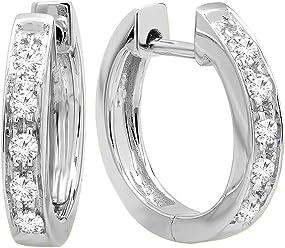 fbe55ca66 Dazzlingrock Collection 0.12 Carat (ctw) 10K Round White Diamond Ladies  Huggie Hoop Earrings,