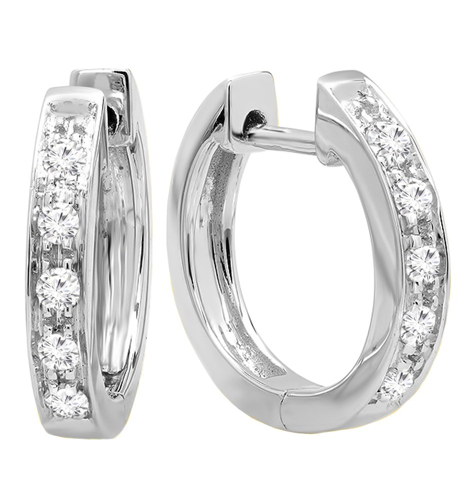 0.12 Carat (cttw) Round White Diamond Ladies Huggie Hoop Earrings, 10K White Gold by Dazzlingrock Collection