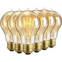 Lot de 6 ampoules Edison vintages E27 - 60W - À filament - 220V - Blanc chaud - Transparentes -À suspendre, A19/60w, E27 60.0W
