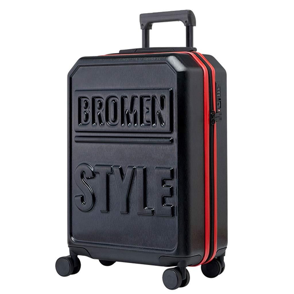 ZXXZ トロリーケース- 学生ファッションユニバーサルホイールトロリーケース、男性と女性の搭乗スーツケース20/24/28インチ (Color : Black, Size : 20in) B07TZT6N3T Black 20in