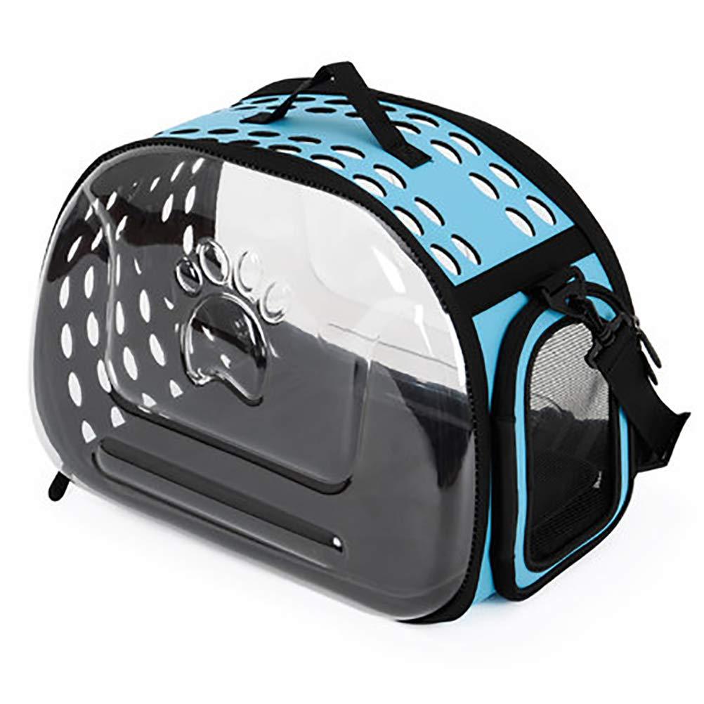 bluee WNQQJ Premium Pet Carrier Backpack Portable Travel Pet Breathable Carrier Backpack Transparent Cat Bag Pet Messenger Bag Capsule Breathable 360° Sightseeing,bluee