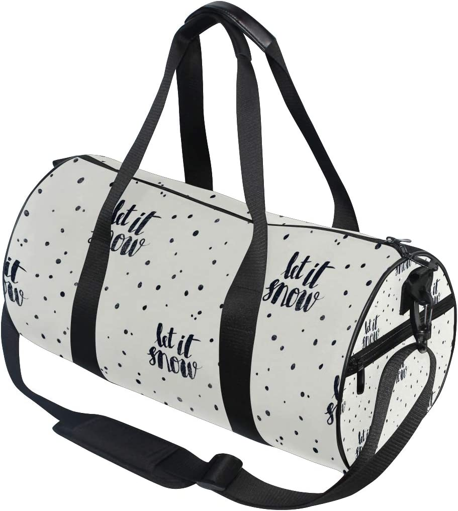 MALPLENA Fade Let If Snow Letters Drum gym duffel bag women Travel Bag