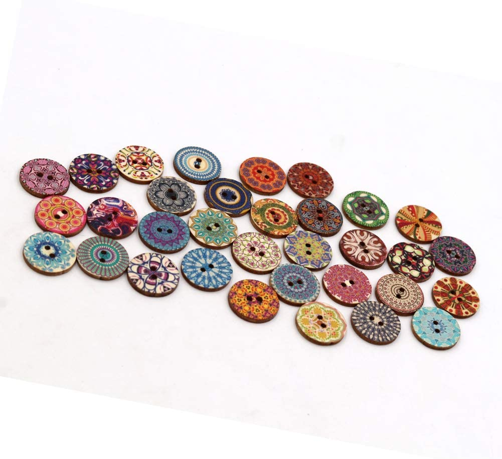 Wooden Star Buttons Natural Quantity-6